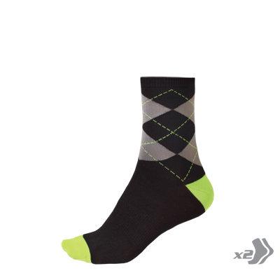 Endura čarape Argyll Green L-XL (2 pack)