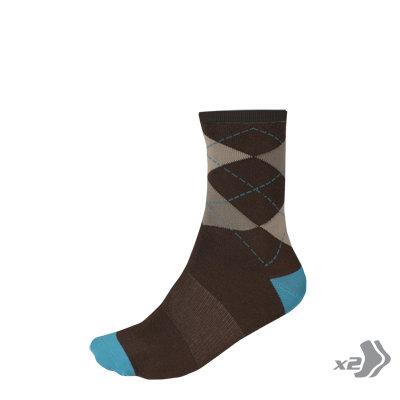 Endura Čarape Argyll Blue L-XL (2 pack)