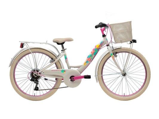"""Adriatica dječji bicikl ženski 24"""" bijelo/rozi+košara"""