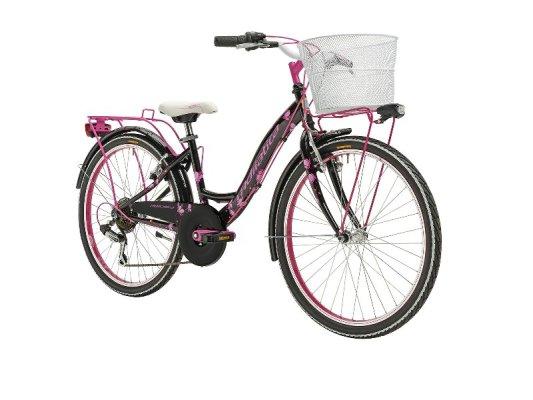 """Adriatica dječiji bicikl ženski 24"""" crno/rozi+košara"""