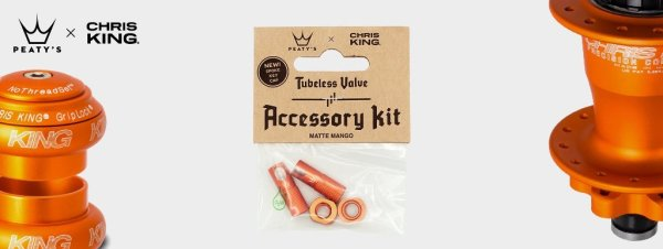 Peaty's accessory kit Tubeless ventila 42mm Orange