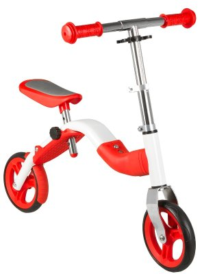 Bicikl guralica 2-u-1 romobil bjelo/crvena