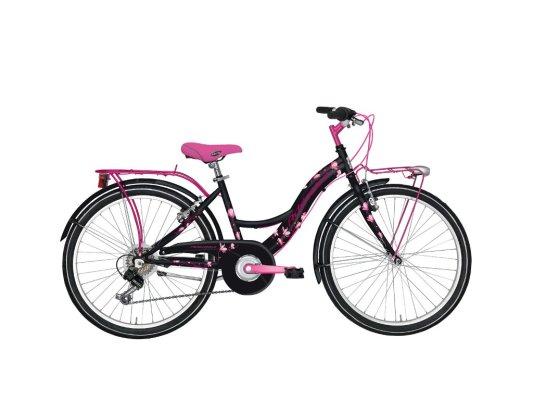 """Adriatica dječiji bicikl ženski 24"""" crno/rozi"""