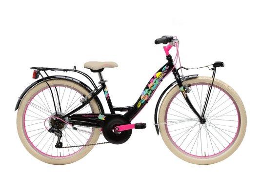 """Adriatica dječji bicikl ženski 24"""" crno/rozi"""